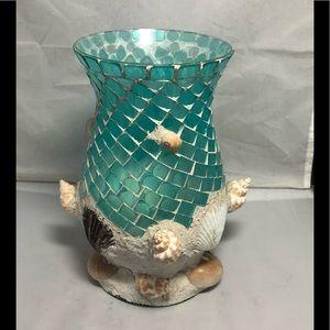 Sea shell mosaic coated glass jar/vase/candle